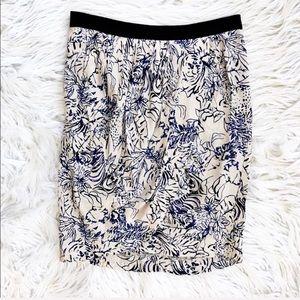 Maje printed wrap front pencil skirt